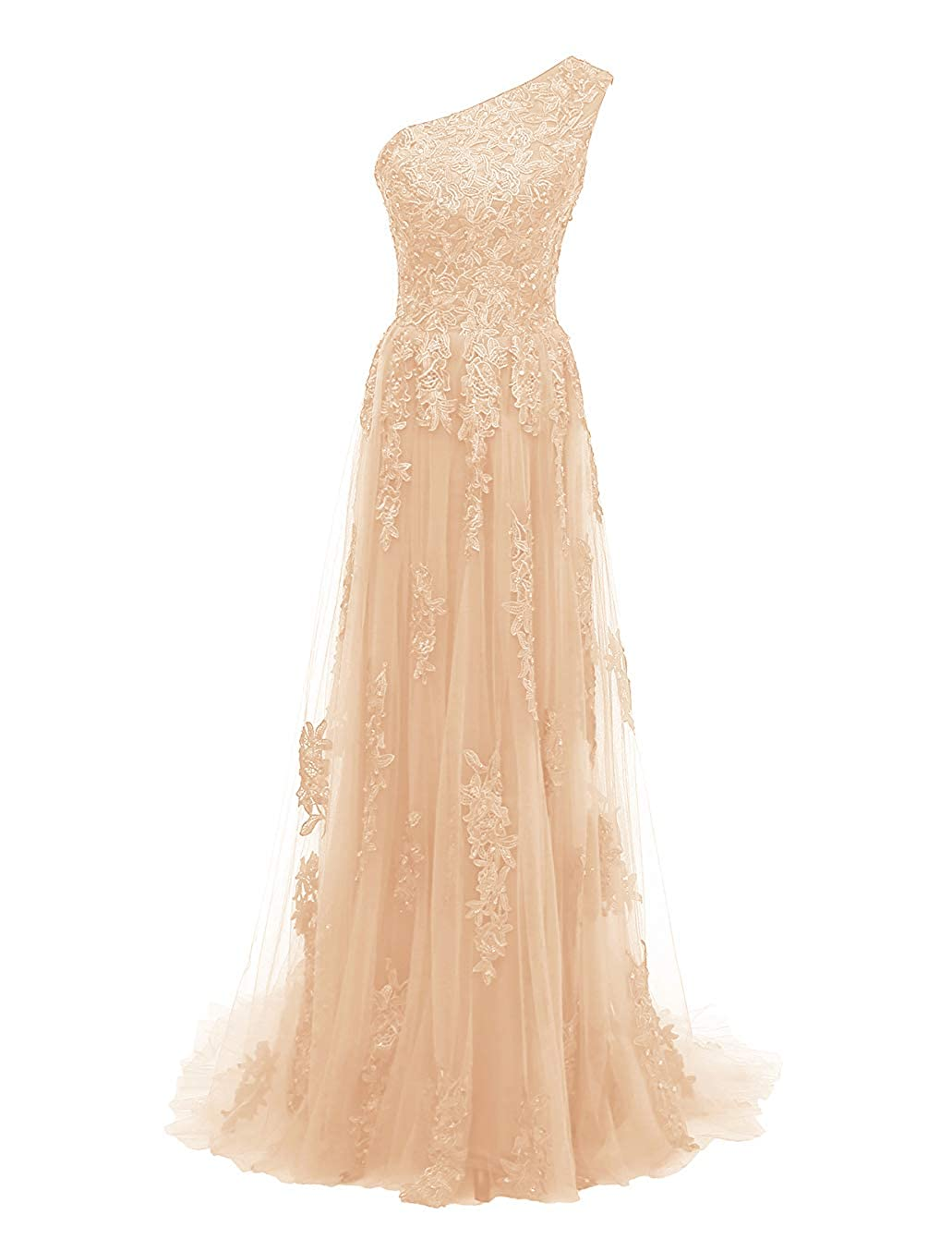 Champagne Uther One Shoulder Evening Party Gowns Lace Appliques Women's Formal Long Prom Dresses