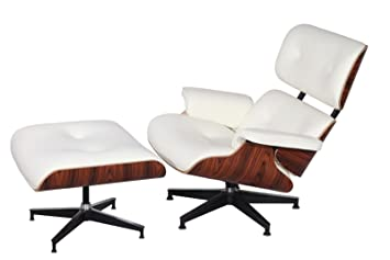 Superb Mid Century Modern Classic Rosewood Plywood Lounge Chair U0026 Ottoman With  White Premium Top Grain Leather