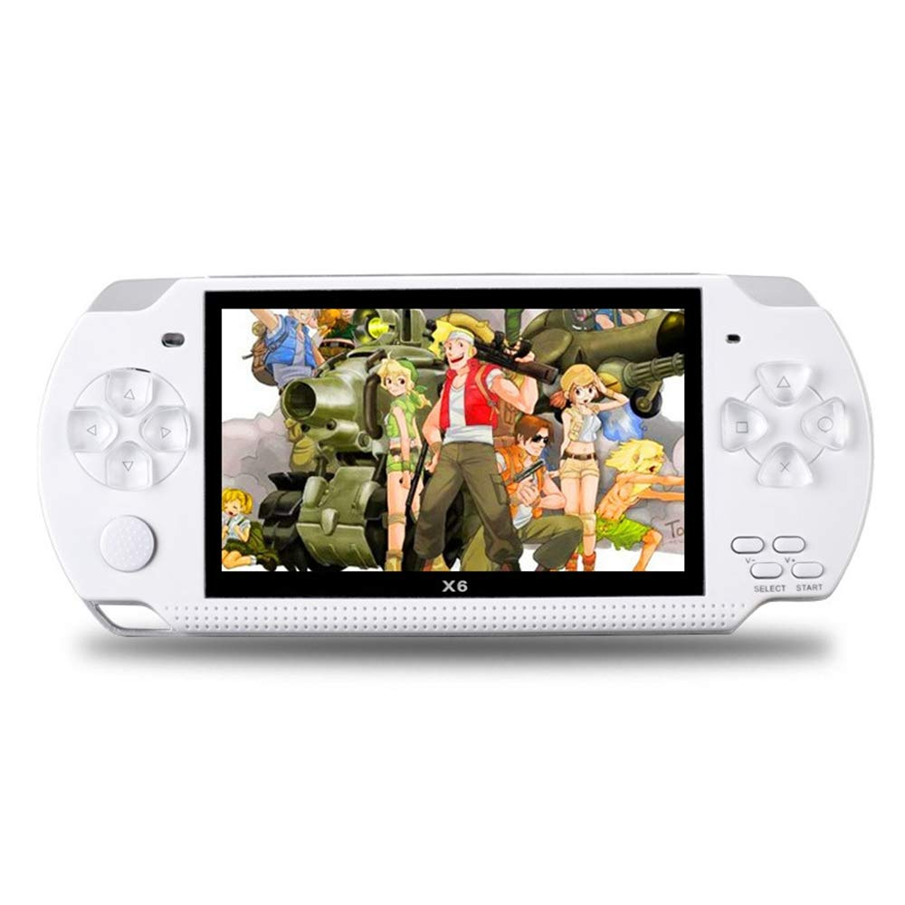 Handheld Game Console with Built in Games,Portable Video Games for Kids Retro,Built-in 500 Classic Video Games Player with 4.3'' 8GB System for Birthday Presents Kids Children Adults (White)