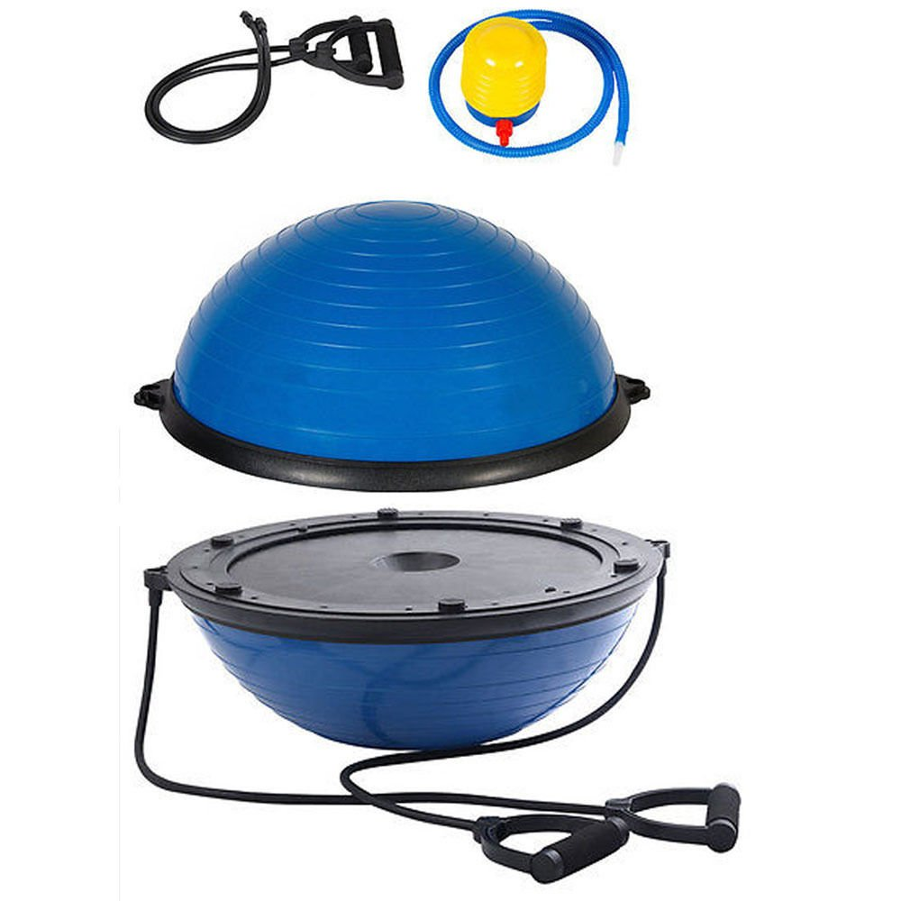 Ampblue Yoga Ball Balance Trainer Fitness Exercise Pump Gym Strength W Half 23 Workout New Air Resistance Bands 30 22 26