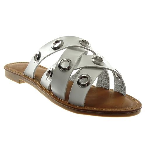 0c0a858d343 Angkorly - Chaussure Mode Sandale Mule Slip-on Femme perforée Multi-Bride  Talon Bloc
