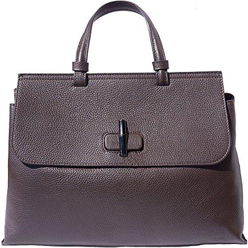 Single Handle Bag Woman Bag Woman With A Turn-lock Closure Timber (large Version) 8061 Dark Brown