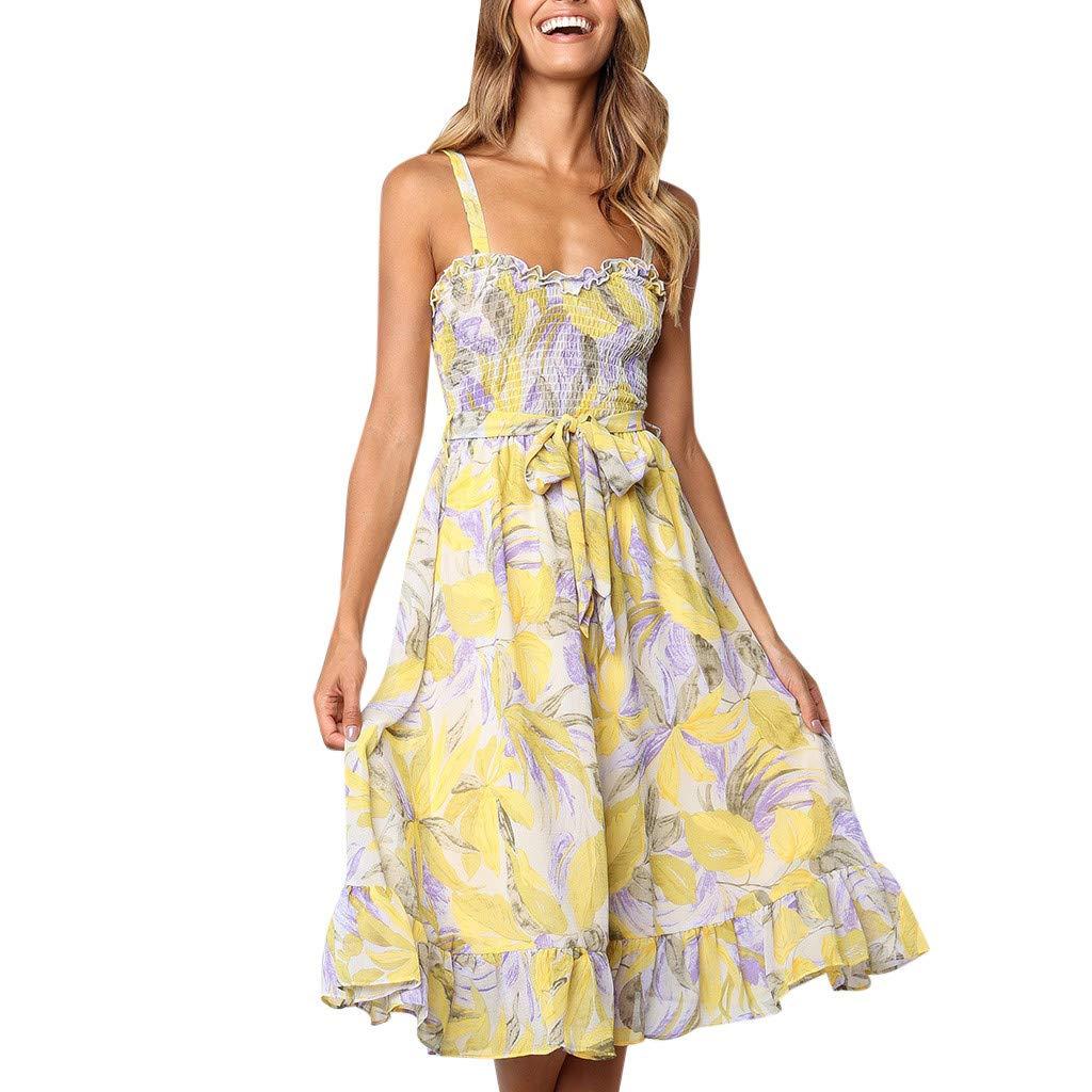 Sagton Floral Dresses for Women Floral Leaf Printed Off Shouder Dress Sling Summer Beach Lace Up Dress (Yellow,L)