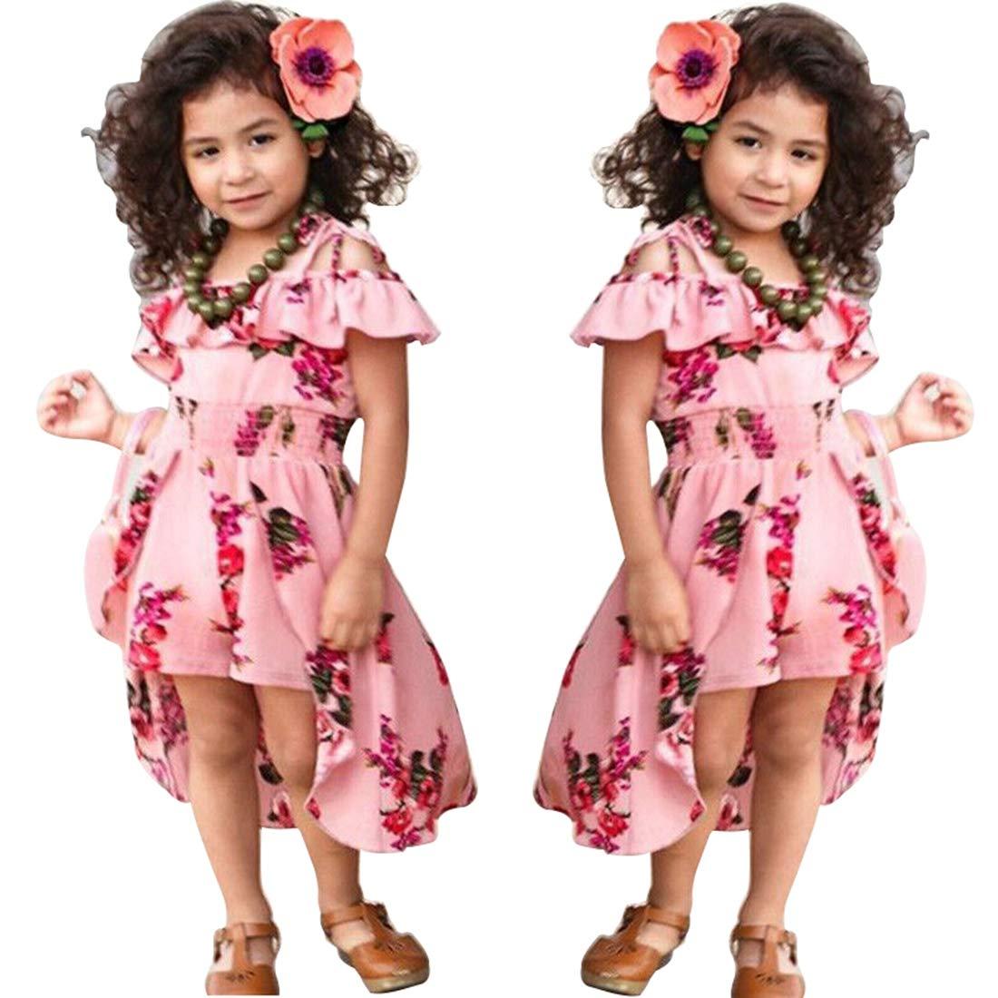 6273515b1 Amazon.com: NoNoAnt Kids Girls Summer Sling Sweet Floral Dress Elegant Girl  Princess Ruffles Irregular Culotte Dresses 3-8 Year: Clothing