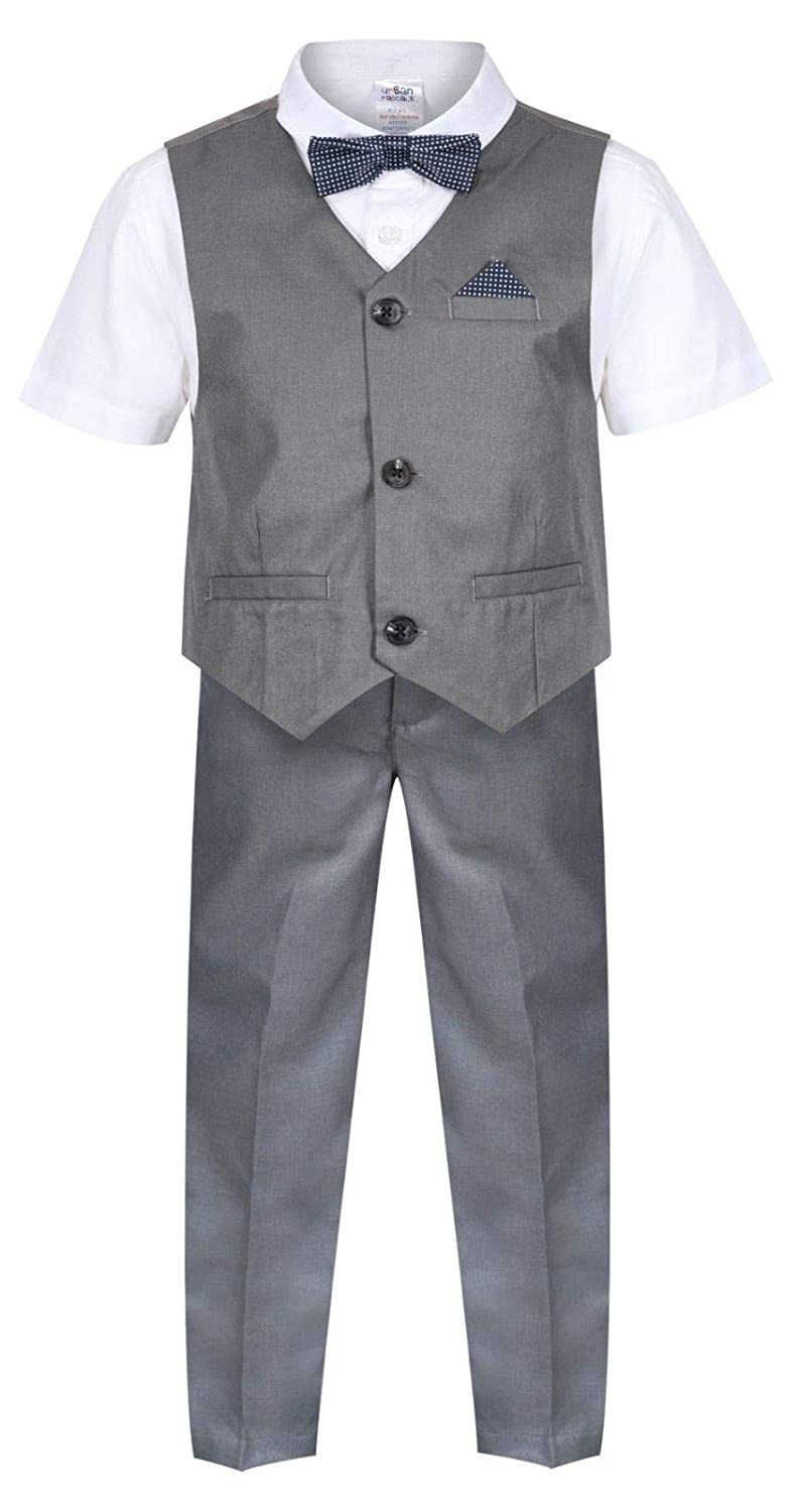 Boys Waistcoat Set Grey 4 Piece Boys Wedding Suit Page Boy Party Ceremony Prom 9 Months to 14 Years