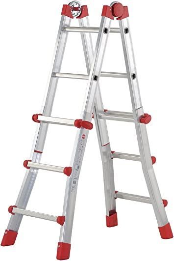 Hailo Escalera Telescópica 4 Tramos Aluminio Multi (3+3 Peldaños): Amazon.es: Bricolaje y herramientas