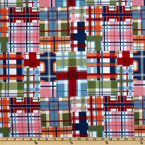 Michael Miller Shore Thing Madras Patch Seaside Multi Fabric by The Yard, ()