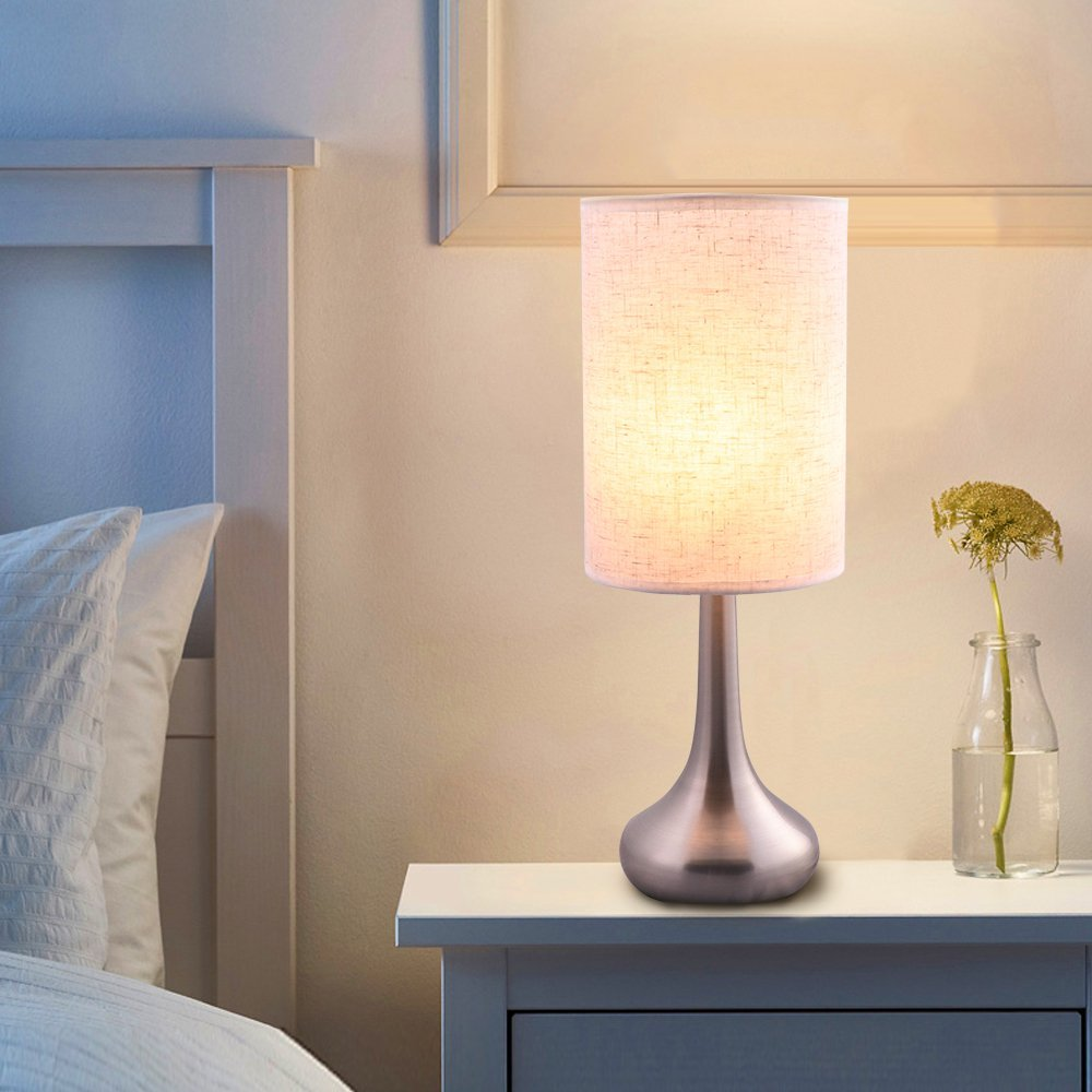 Lintat 15.4''H Brushed Nickel Metal Base Bedside Table Lamp with Fabric Shade Not Dimmable Nightstand, Desk Lamp with Soft Ambient Light for Living Room, Bedroom, College Dorm, Hotel