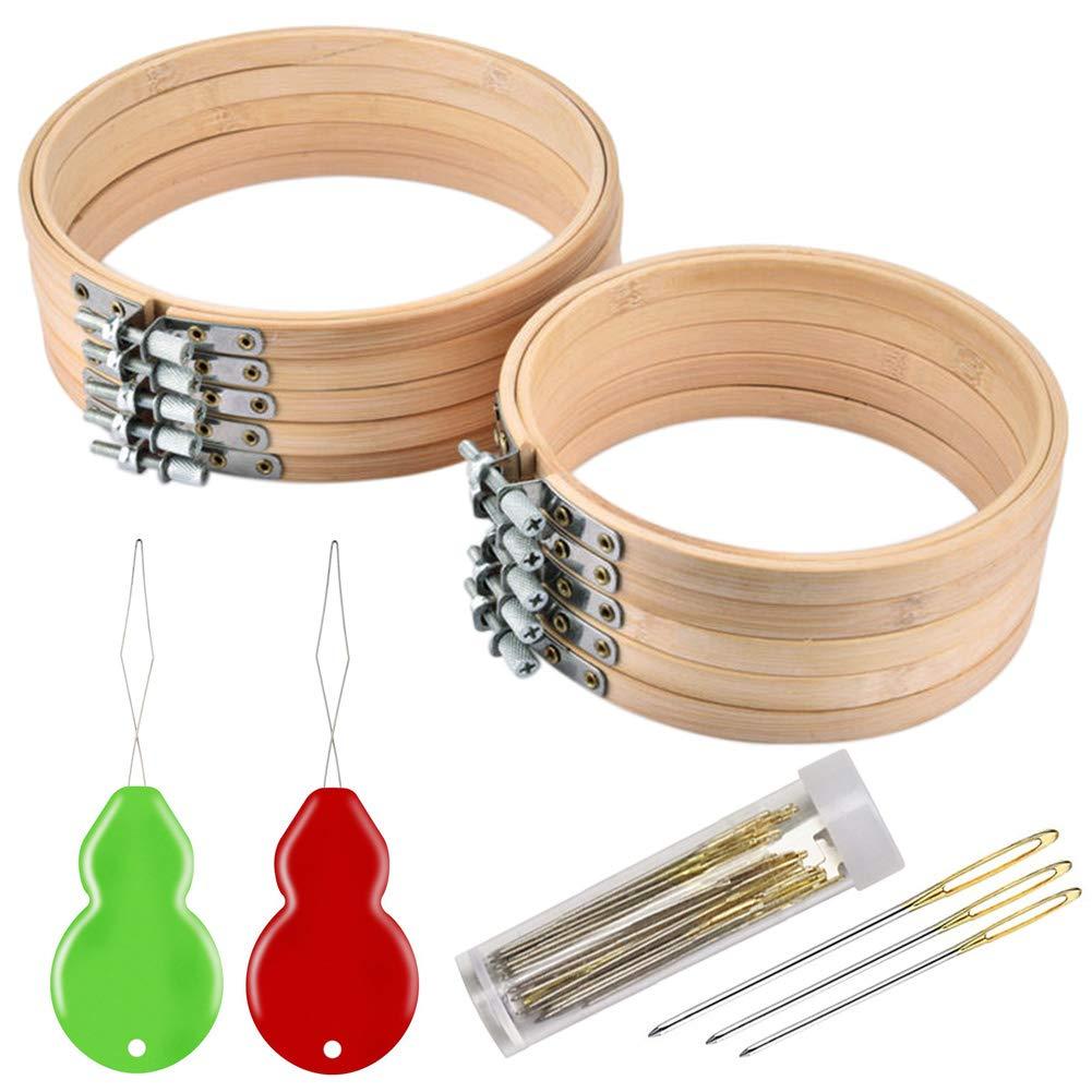 Stickerei-Starter-Set f/ür Kunst verstellbarer Stickrahmen Gro/ßhandel zum N/ähen handliches N/ähen Nadeleinf/ädler und Sticknadel Stickrahmen Holz Set inkl