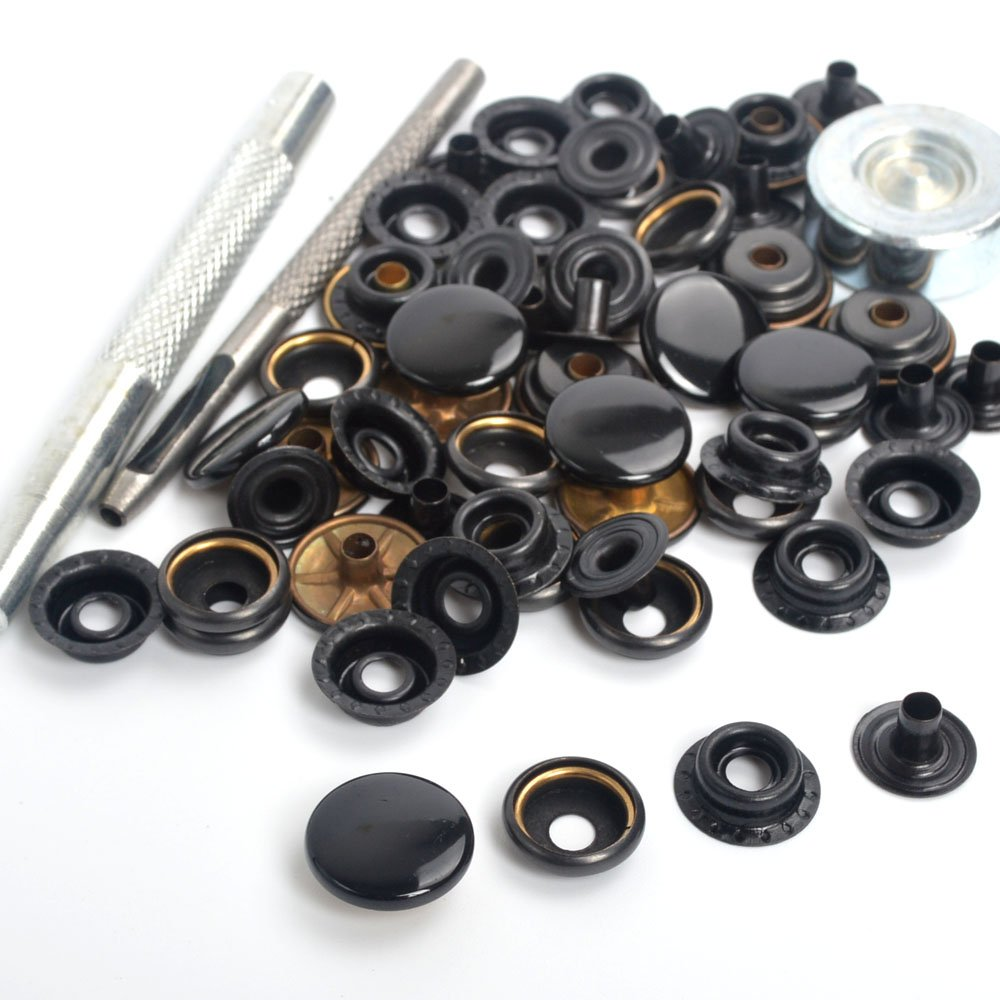 15 Completed Sets Black Shinny 15mm Snap Fasteners Poppers Press Studs Sewing Buttons with Die Punch Tools Sets Kit For Clothing , leather craft , jackets , bags ifsecond