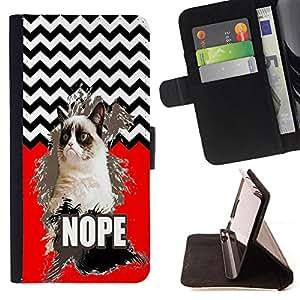 - Chevron Grumpy Cat - - Prima caja de la PU billetera de cuero con ranuras para tarjetas, efectivo Compartimiento desmontable y correa para la mu?eca FOR Samsung Galaxy Note 3 III N9000 N9008V N9009 King case