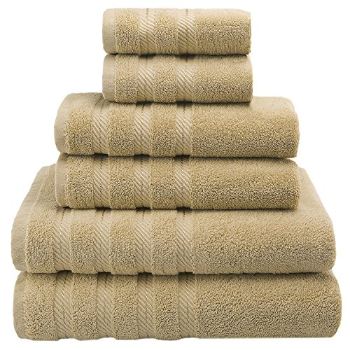- Premium, Luxury Hotel & Spa Quality, 6 Piece Kitchen and Bathroom Turkish Towel Set, Cotton for Maximum Softness and Absorbency by American Soft Linen, Sand Taupe