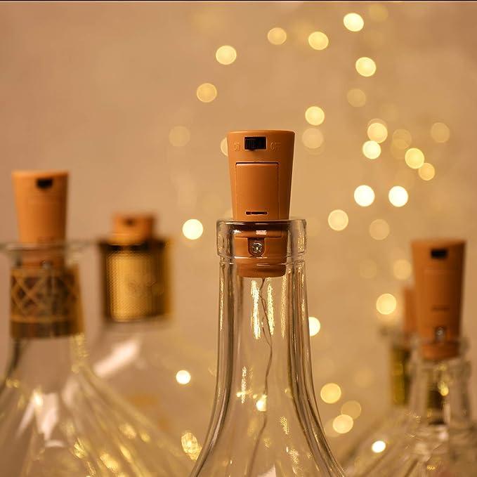12 Pack luz de Botella,luces led para Botellas de Vino 2m 20 LED a Pilas Decorativas Cobre Luz para Romántico Boda, Navidad, Fiesta, Hogar, Exterior, ...