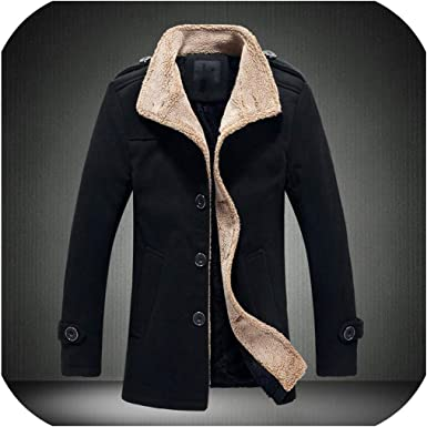 Fieer Mens Thicken Fall /& Winter Single-Breasted Hooded Overcoat Jackets