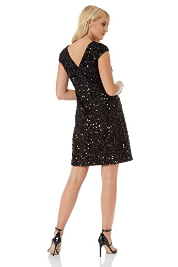 4e45ab602161 Roman Originals Womens Sequin Tinsel Shift Little Black Dress - Ladies Christmas  Party Evening Going Out 1920 Sequined Sparkle Round Neck Knee Length Tunic  ...