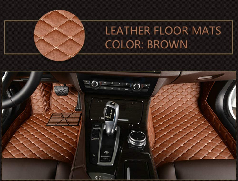 Custom Car Floor Mats for Land Rover Range-Rover-Sport 5-Seats 2014-2019 Full Surrounded Waterproof Anti-Slip All Weather Protection Leather Material Car mat Carpet Liners Interior Accessories Brown