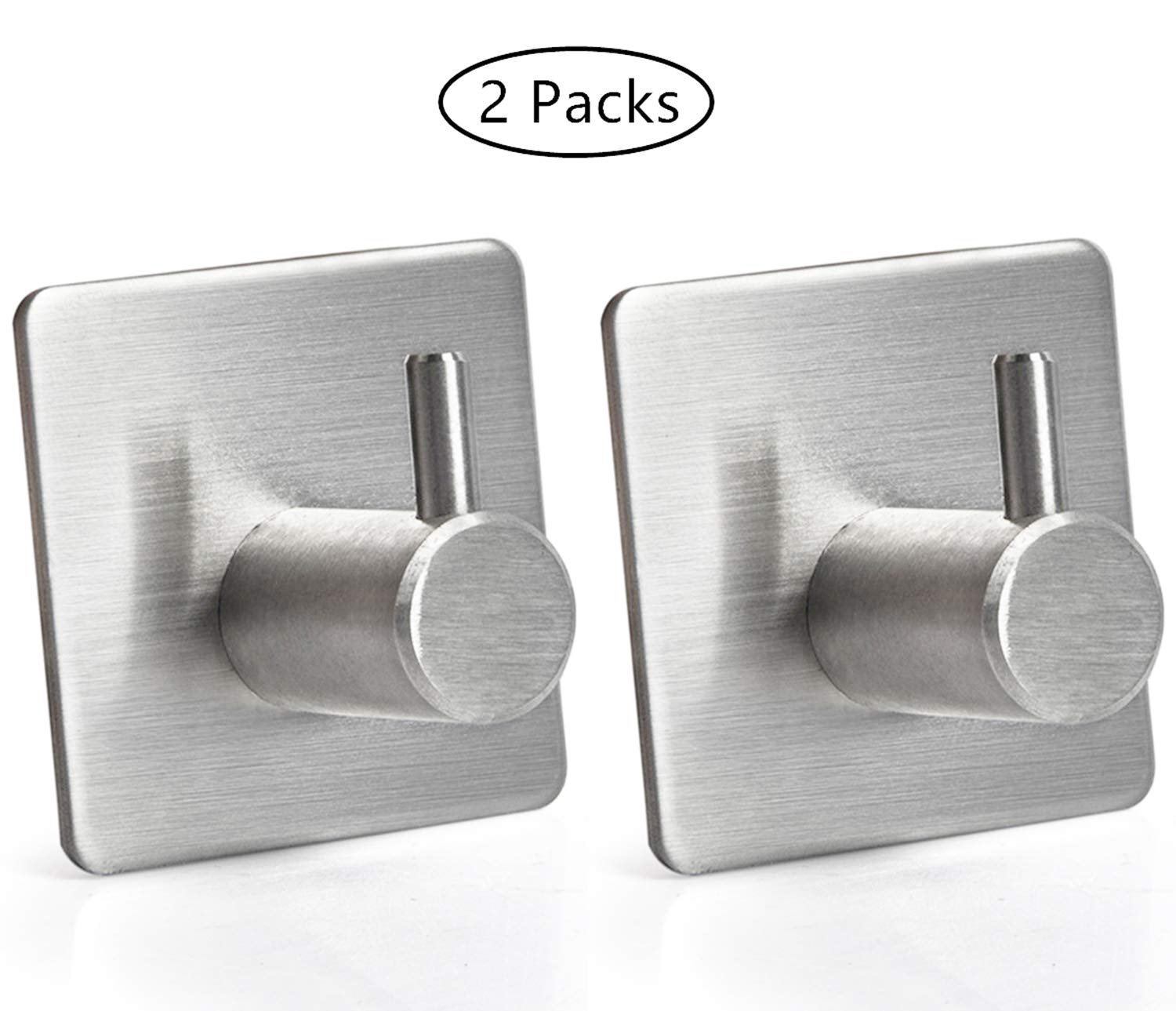Concus T High Load Bearing Self Adhesive Brushed Stainless Steel Waterproof Hook for Keys Towel Clothes and Tools