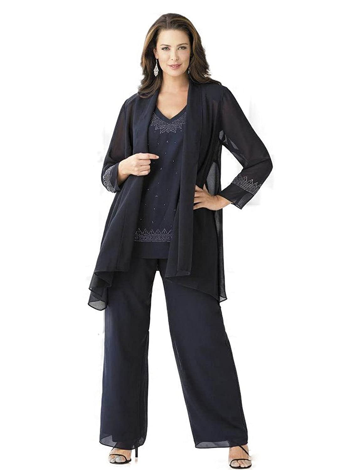 Kelaixiang Navy Blue Chiffon Mother Pant Suits Formal with Shawl Rhinestone