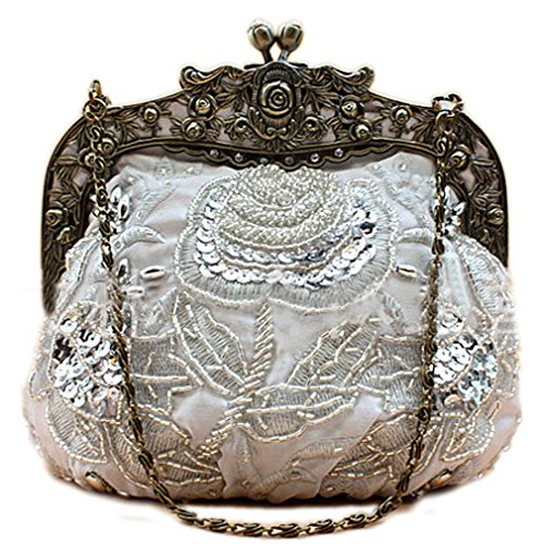 Vintage Silver Flower - Belsen Women's Vintage Beaded Sequin Flower Evening Handbags (Silver)