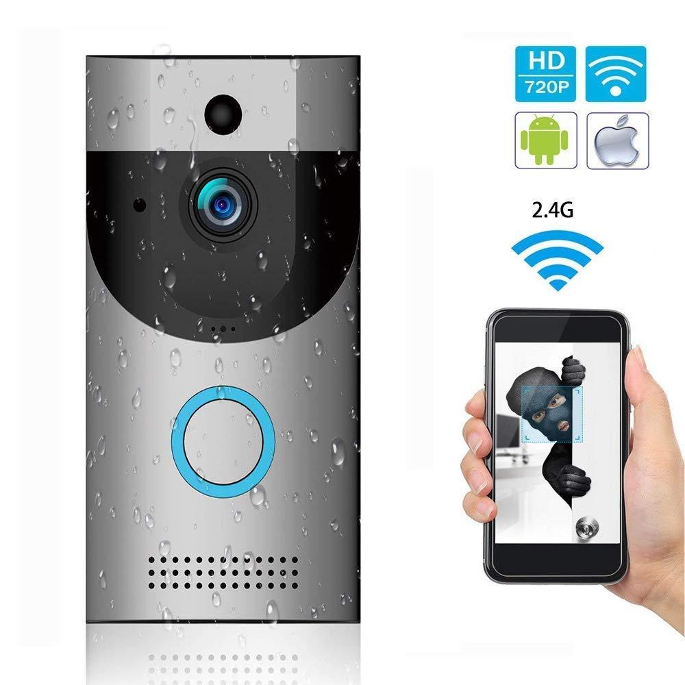 WiFi 720P HD-Kamera Mit Video-Türklingel, Intelligente Türklingel Windspiel, PIR Bewegungserkennung, Nachtsicht, Zwei-Wege-Audio, 166 ° Weitwinkel Linse, Fernbedienung Mit App Für Ios Und Android