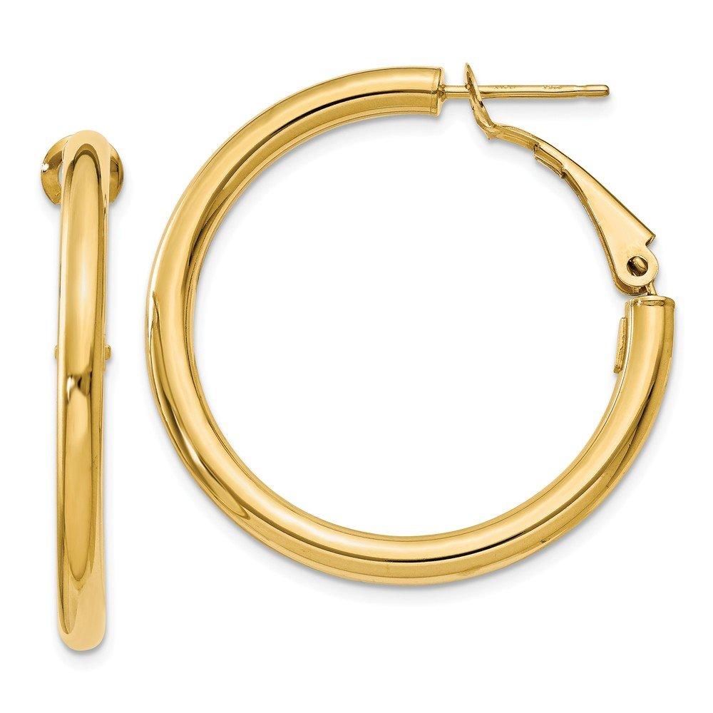 3 mm Omega Backed Hoop Earrings in Genuine 14k Yellow Gold - 30 mm