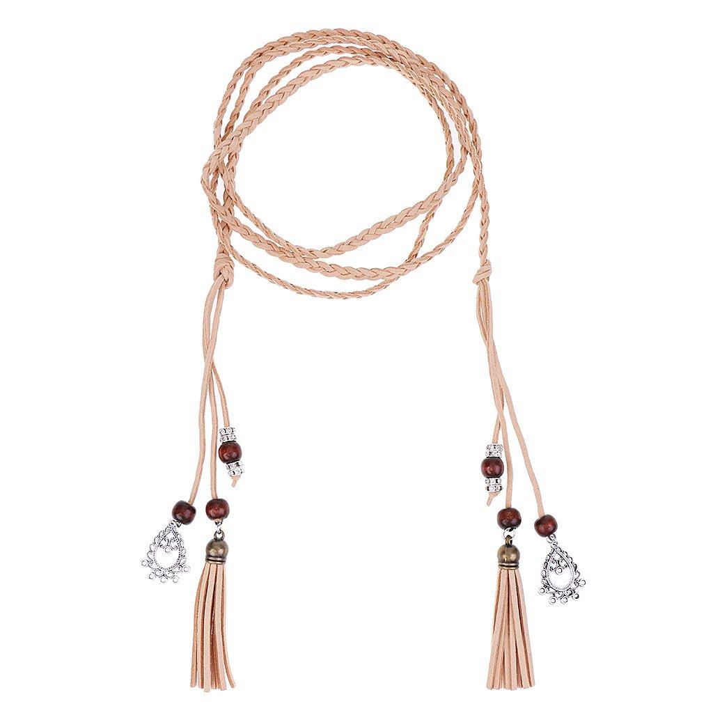 Sharplace 165cm Länge Schmale Gürtel Taillengürtel Mode Damen Kleidgürtel Hippie Quaste 165 cm