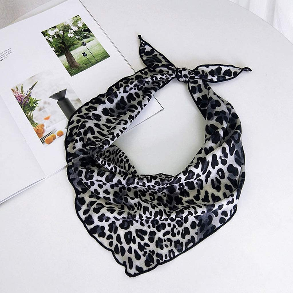 W-FIGHT Womens Chiffon Leopard Printed Triangle Neck Scarf Bandana Kerchief Hair Tie