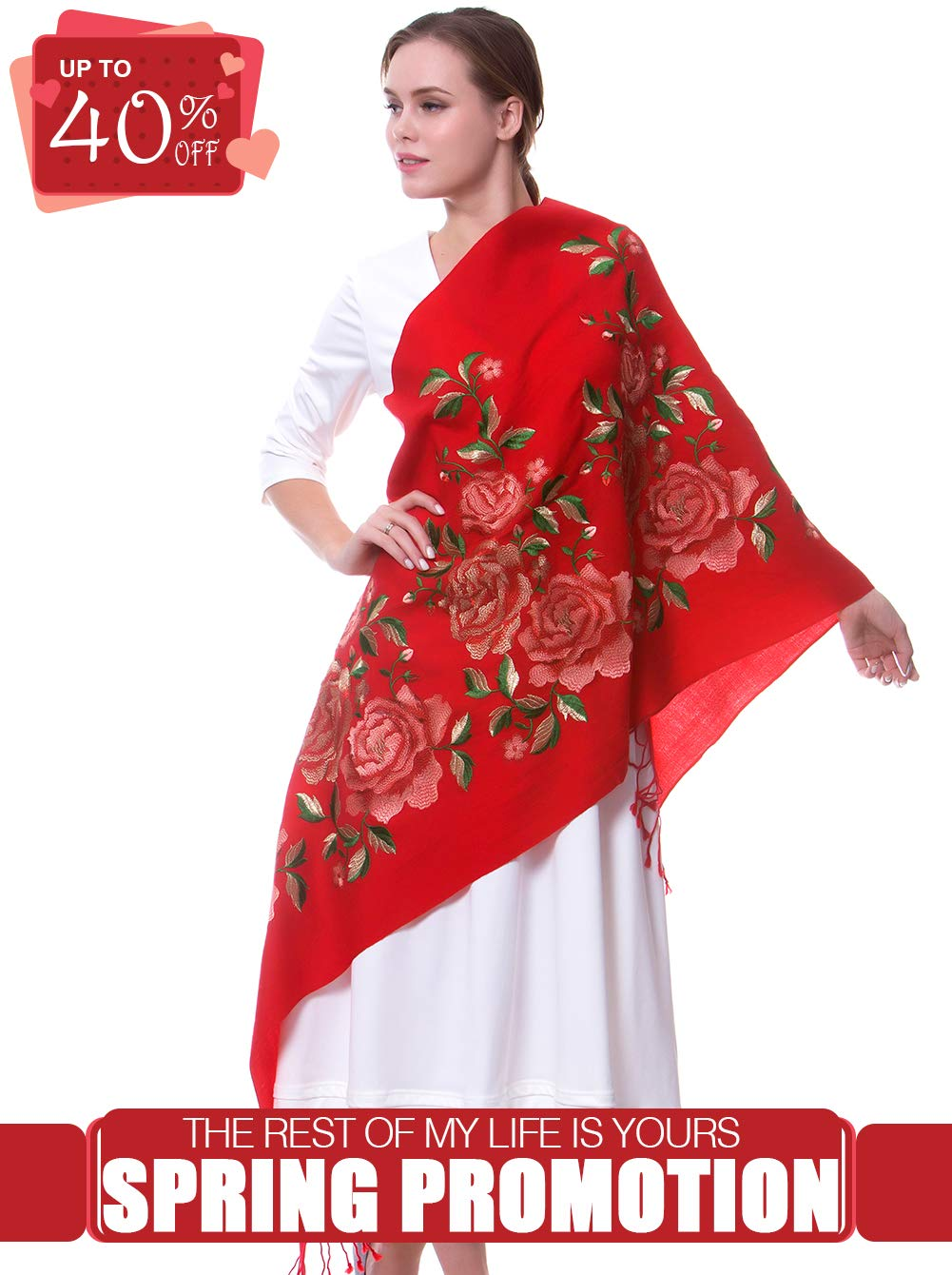 MORCOE Women's Top-class 100% Wool Delicate Embroidered Soft Long Floral Scarf Warm Wrap Party Wedding Shawl Gift … (Red)