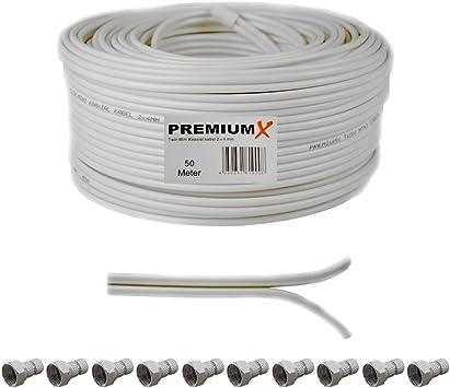 Cable coaxial para antena (50 m, 90 Db Twin Mini 2 x 4 mm Color Blanco Cable de antena extra fino, FullHD, HDTV, 4 K, incluye 10 conectores F)