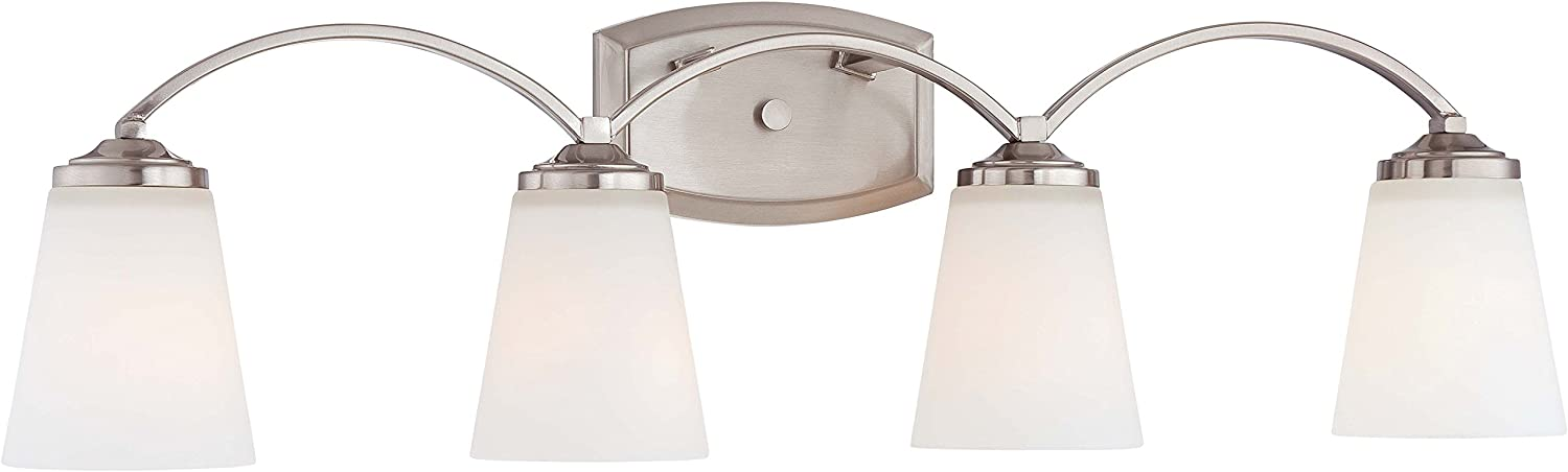 Minka Lavery Wall Light Fixtures 6964-84 Overland Park Glass Bath Vanity Lighting, 4 Light, Nickel