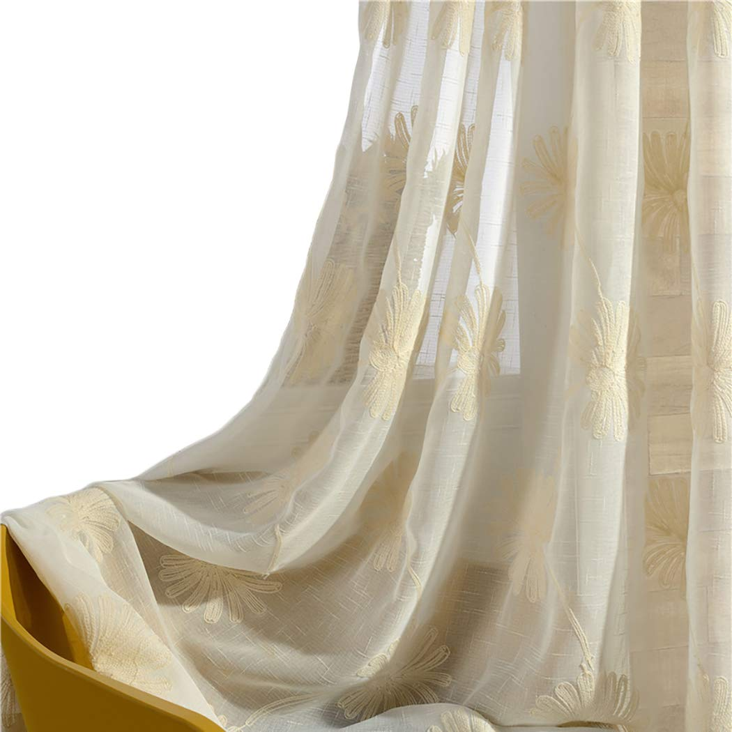 VOGOL Rod Pocket Sheer Curtains Floral Pattern Embroidered Elegant Faux Linen Window Treatment for Bedroom Living Room,Two Panels, 52x63, Beige