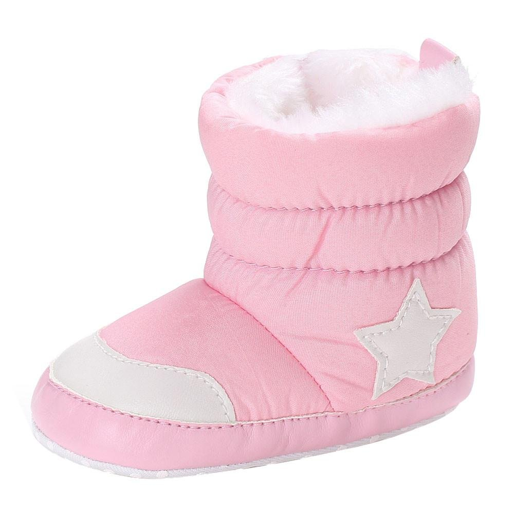 WARMSHOP Baby Girl Boy Cotton Fabric Winter Warm Snow Boots Waterproof Toddler Zipper Warming Shoes