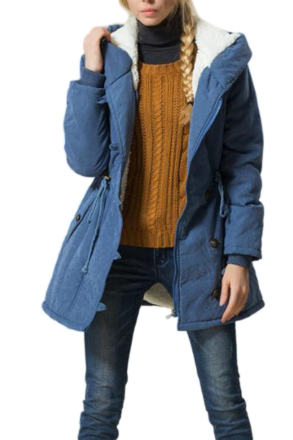 Women Winter Warm Hooded Drawstring Zip Up Parkas Lined Coat Jecket Plus Size CANZ1498