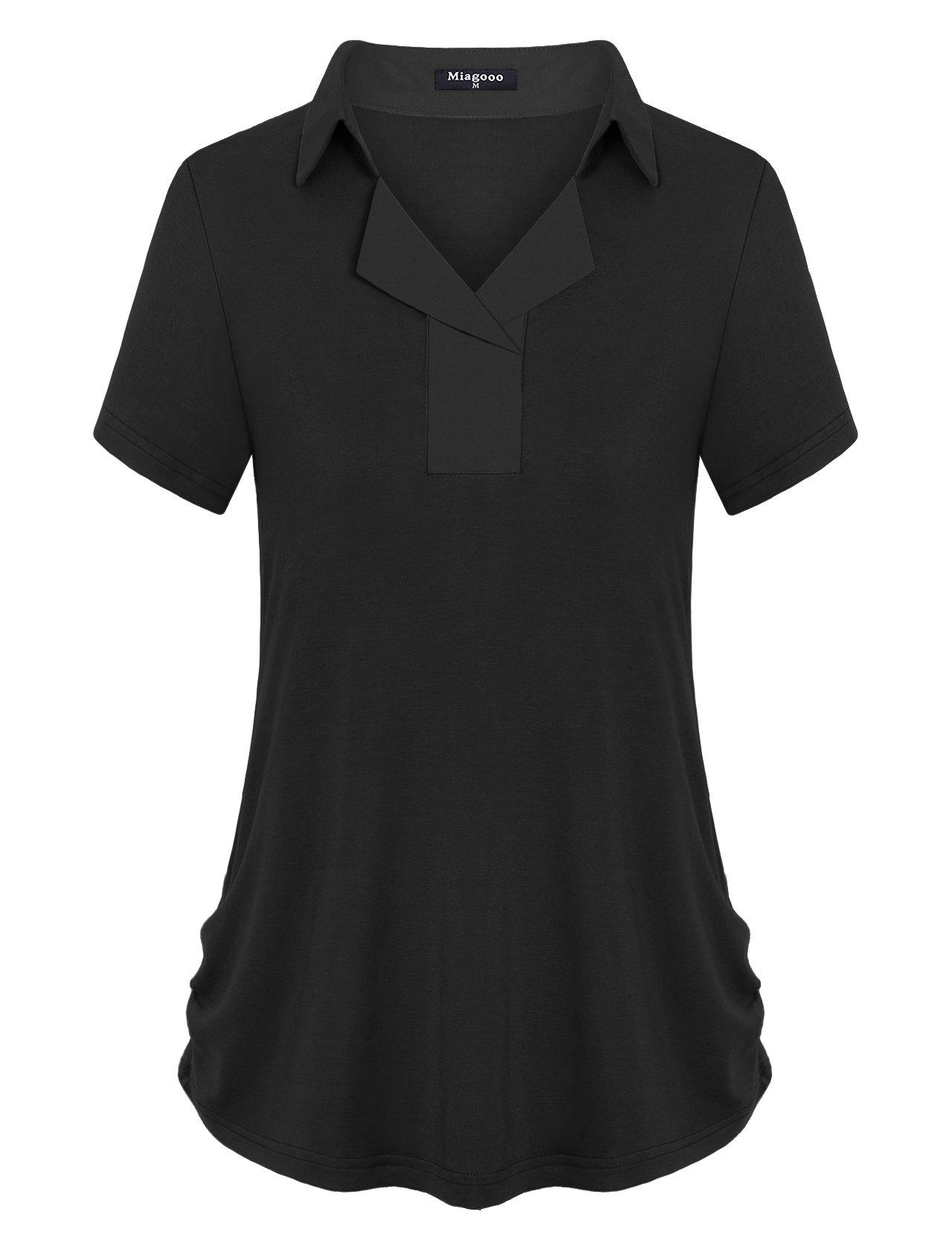 Miagooo Womens Tops and Blouses, Ladies Boutique Clothing Fashion Notch Collar Shirt Split V Neck Short Sleeve Button Down Pullover Tunic Basic Comfort Lightweight Polo Tshirt Black Medium