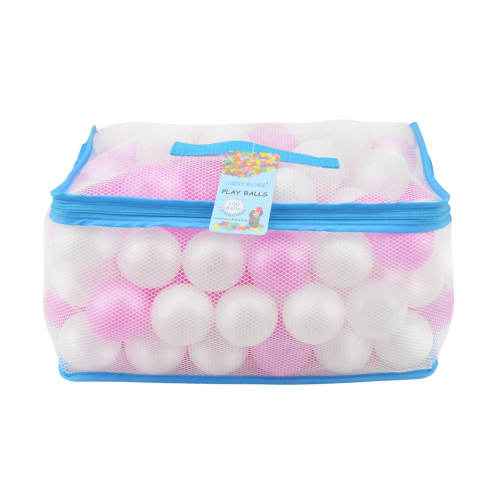 Lightaling 100pcs White & Pink Ocean Balls & Pit Balls Soft Plastic Phthalate & BPA Free Crush Proof - Reusable and Durable Storage Mesh Bag with Zipper