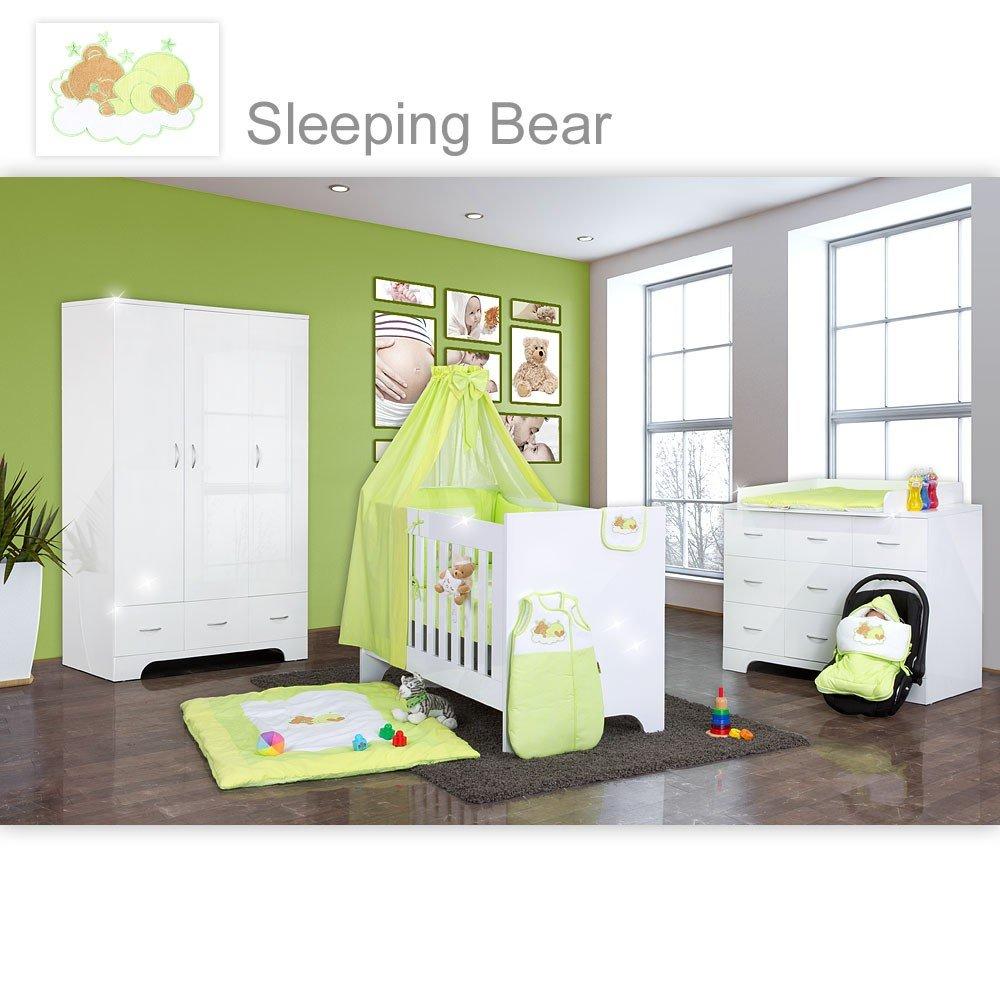Hochglanz Babyzimmer 12-tlg. mit Sleeping Bear in Grün