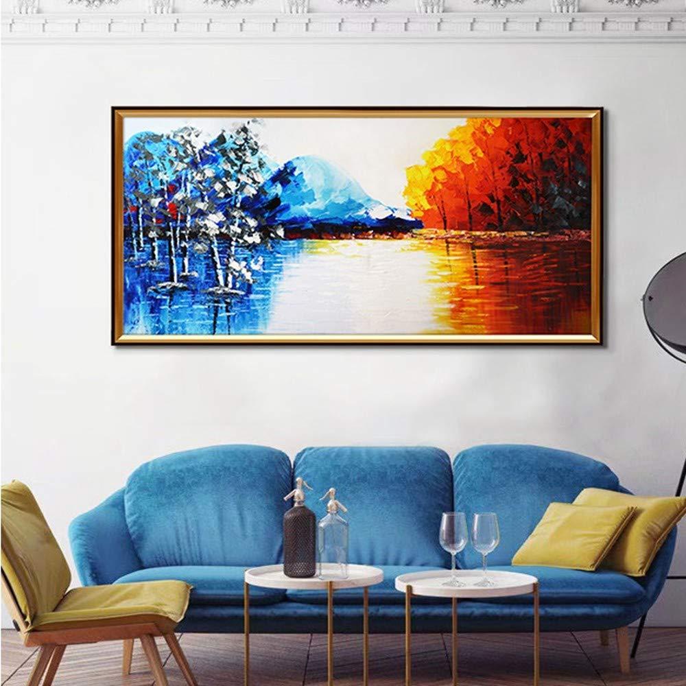 OME&MEI Pintura Mano Al Óleo Pintada A Mano Pintura Paisaje De Otoño E Invierno Pintura Decorativa De La Sala De Estar Sin Marco-50X80Cm c074a1