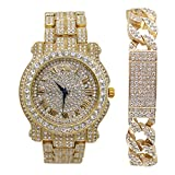 Bling-ed Out Round Luxury Men's Watch w/Bling-ed Out Cuban ID Bracelet - L0504B Cuban IDGold