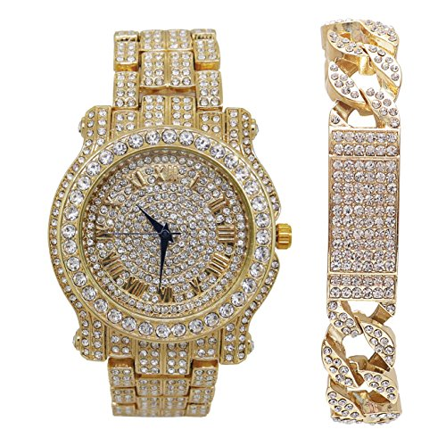 Bling-ed Out Round Luxury Mens Gold Watch w/Bling-ed Out Cuban ID Bracelet - L0504B Cuban IDGold