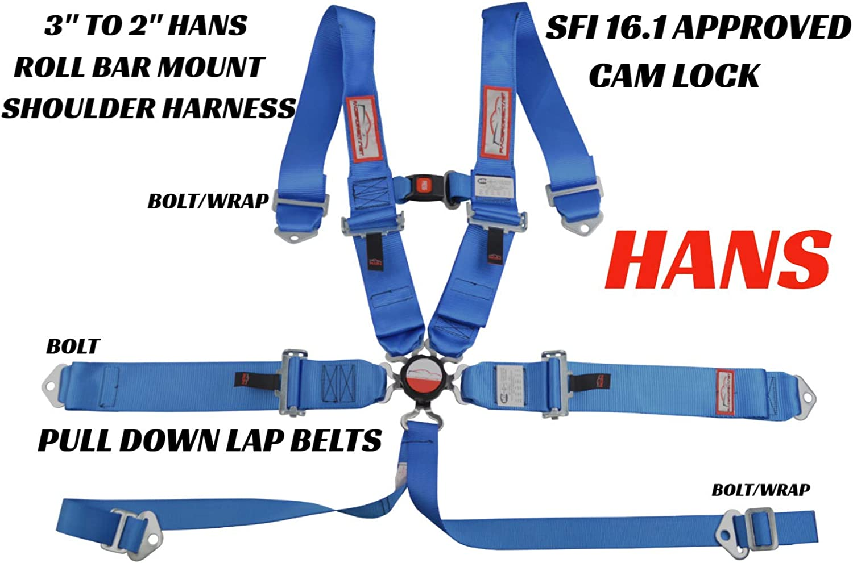 Racerdirect.net SNAP in HANS Harness CAM Lock Racing Belt SFI 16.1 5 Point ROLL BAR Mount Black