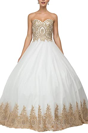 f33c7326215 Dearta Women s Ball Gown Sweetheart Prom Quinceanera Dresses Gowns Ivory ...