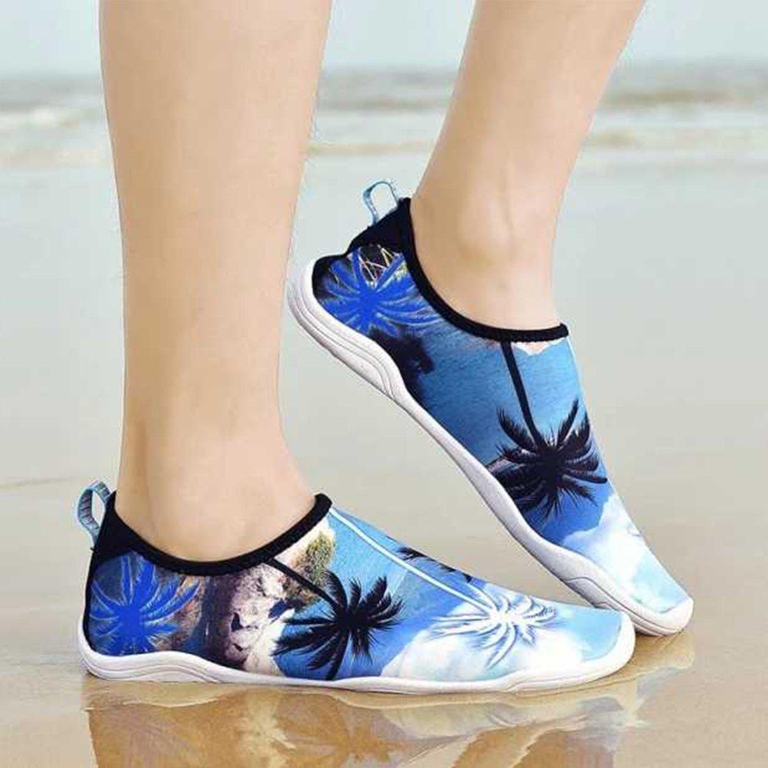 APTRO Womens Mens Water Shoes Barefoot Beach Swimming Walking Palm Tree Blue US (W:8.5)-(M:7.5)