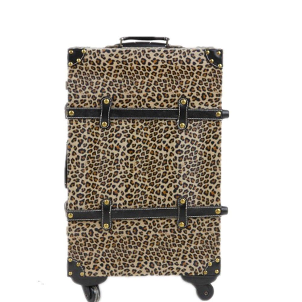 荷物ケース, スーツケース, ヴィンテージ旅行荷物のスーツケースボードユニバーサルホイールロック荷物のスーツケースヒョウのプリントスーツケース24インチ 荷物エアボックススーツケース (サイズ : 20) B07SN9HD7S  20
