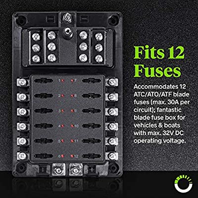 10 Way Fuse Block with Ground Negative Bus for Automotive [Dual Positive Inputs] [12V - 32V DC] [200 Amp] [ATC/ATO Fuses] [LED Indicator] [Corrosion Resistant] Auto Marine Fuse Box: Automotive
