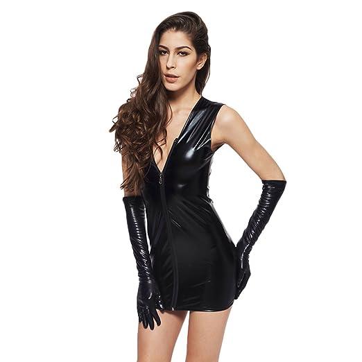 Amazon Yeas Womens Black Enamel Leather Mini Dress With Gloves