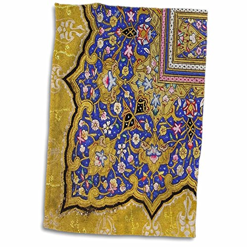 3dRose-InspirationzStore-Vintage-Art-Purple-and-matte-gold-Arabian-floral-pattern-Persian-style-flowers-and-swirls-Arab-Islamic-Turkish-Towel