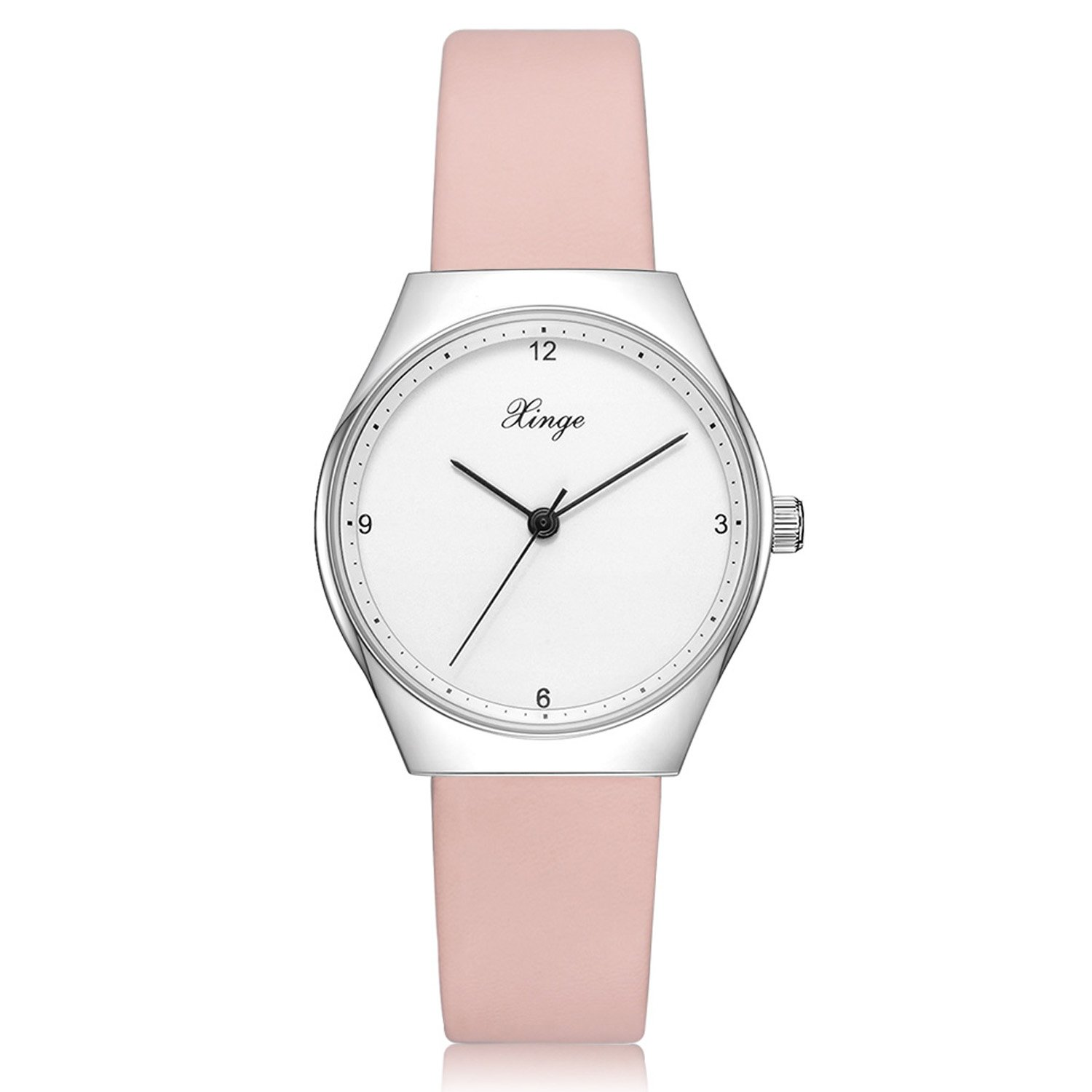 Womens Casual Fashion Watch Leather Band Retro Classic Analog Quartz Ladies Watches (Pink)