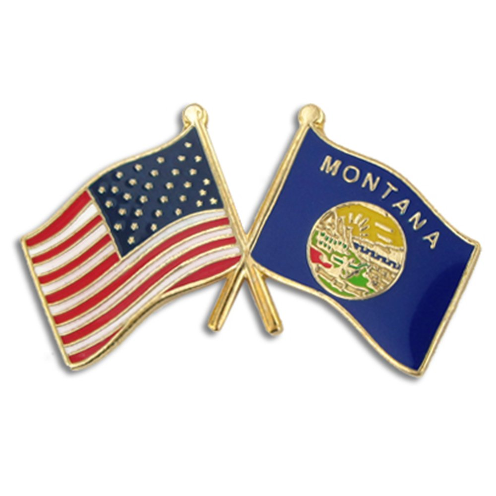 PinMart's Montana and USA Crossed Friendship Flag Enamel Lapel Pin by Pinmart