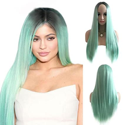 Amazon.com : QWERT Co. Wang Mint Green Synthetic Wigs Long Straight Full Machine Made Heat Resistant Black Roots for Woman Cosplay Party Wig 29.5 Inch ...