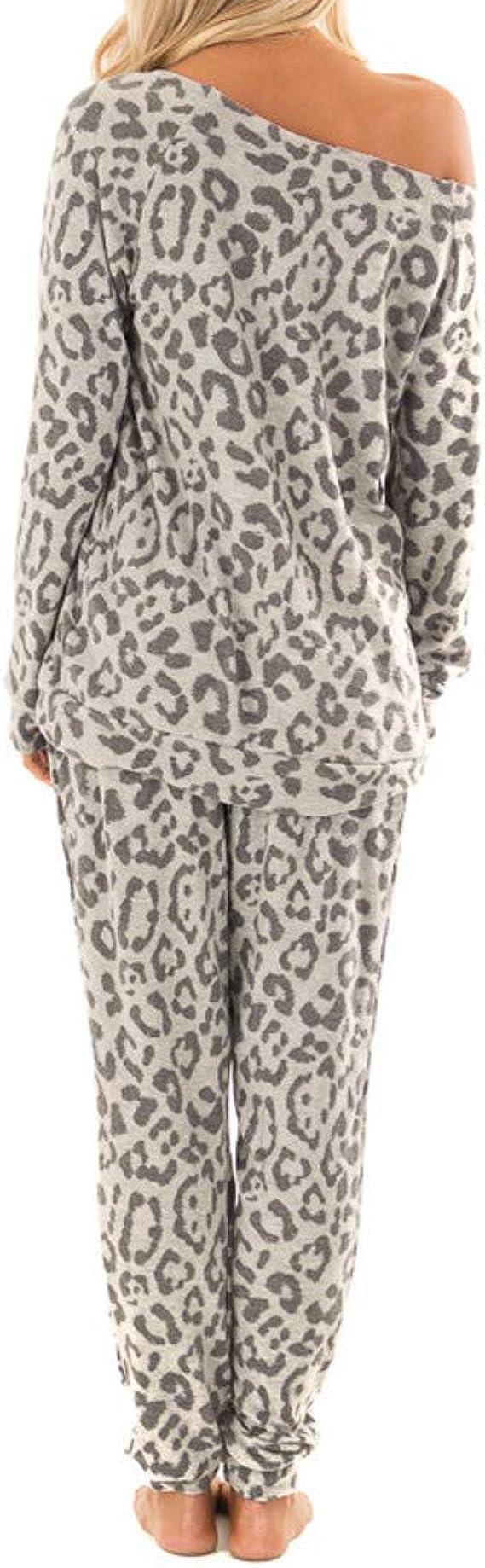 Damen Trainingsanzug Hoodie Sweatjacke Hose Leopard Jogginganzug Sport Fitness
